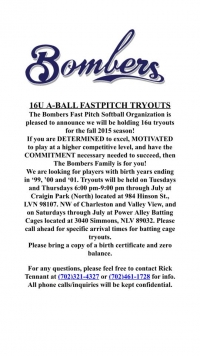 Bombers 16u Girls Softball Team Holding Tryouts