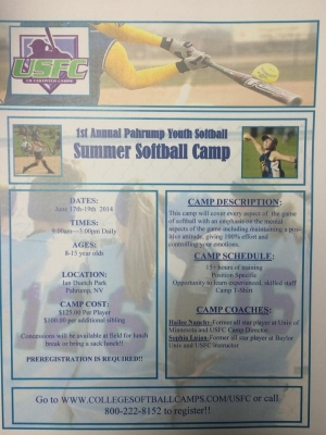 **Updated** Nevada Summer Pro Softball Camp