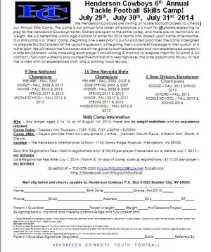 Henderson Cowboys Football Team Fall 2014 Skills Camp & Tryouts