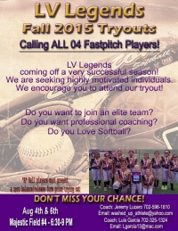 LV Legends Girls Softball Team Holding Tryouts