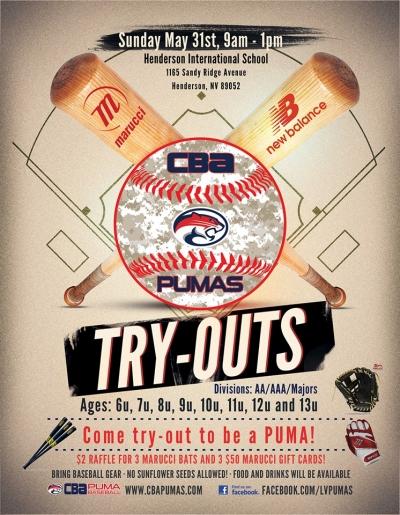 CBA Pumas Youth Baseball Team Tryouts - LV Sportz Foundation
