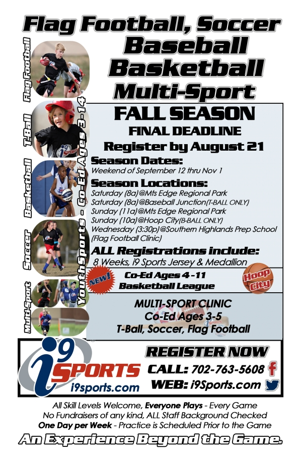 i9 Sports Now Registering for the Fall 2015 Season