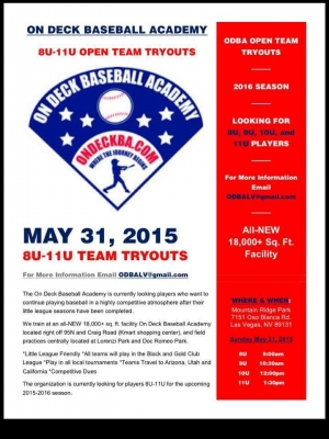 On Deck Baseball Academy Tryouts