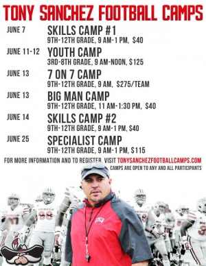 Tony Sanchez Football Camps Now Open for Registration