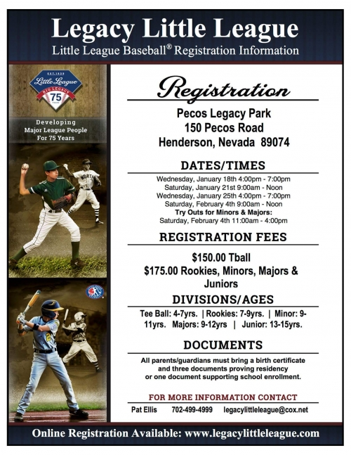 legacy little league now registering for spring 2017