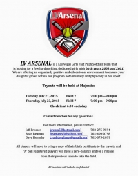 LV Arsenal Girls Softball Team Holding Tryouts