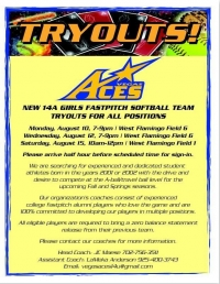 New Vegas Aces 14A Girls Fastpitch Softball Team Holding Tryouts