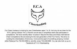 Fox Cheer Academy Looking for Cheerleaders