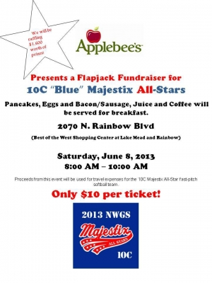 "Northwest Girls Softball 10C ""Majestix"" All-Stars Flapjack Fundraiser with $1,600 in Prizes"