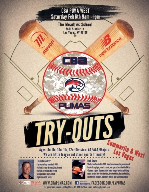 CBA Pumas Travel Baseball Team Tryouts