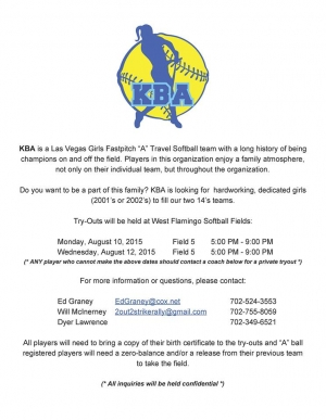Kaboom Batting Academy Girls Softball Team Holding Tryouts