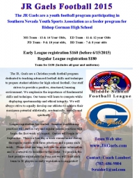 Jr Gaels Youth Football Team Looking for Players