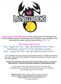 Lady Scorpions 16u Softball Team Tryouts