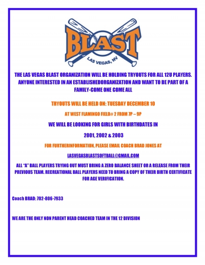 LV Blast 12u Softball Team Holding Tryouts