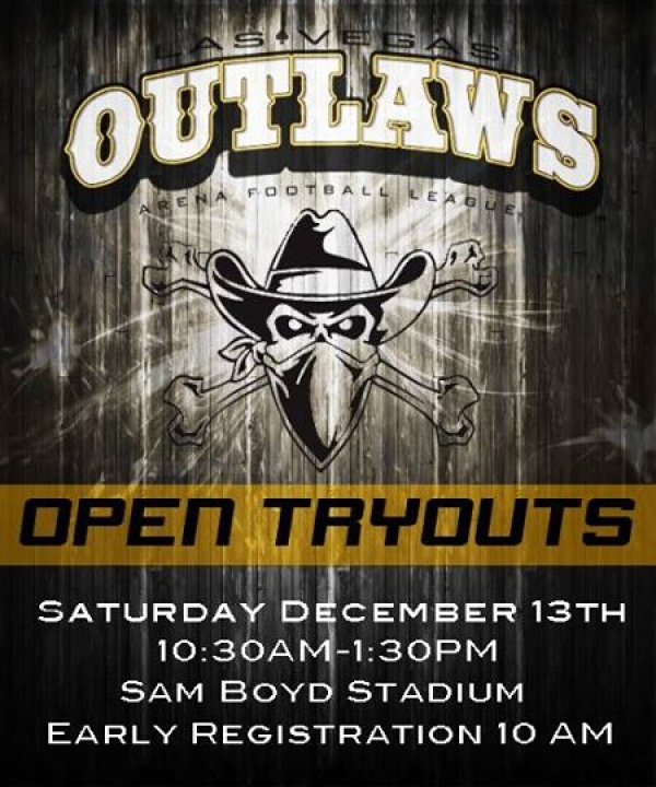 Las Vegas Outlaws Arena Football Team Announces Inaugural Open Tryout