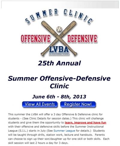 LVBA's 25th Annual Summer Offensive-Defensive Clinic