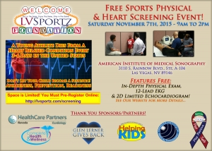 LV Sportz Foundation Holding Winter Free Sports Physical & Youth Athlete Heart Screening Event