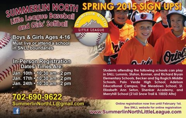 Summerlin North Little League Now Registering for Spring 2015