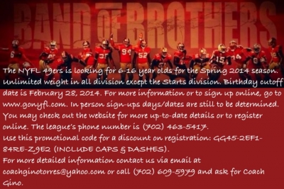 NYFL 49ers Youth Football Team Looking for Players for the Spring 2014 Season