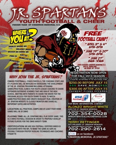 Jr. Spartans Youth Football and Cheer Registration & Free Camp