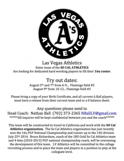 LV Athletics Girls Fastpitch Softball Team Holding 16u Tryouts