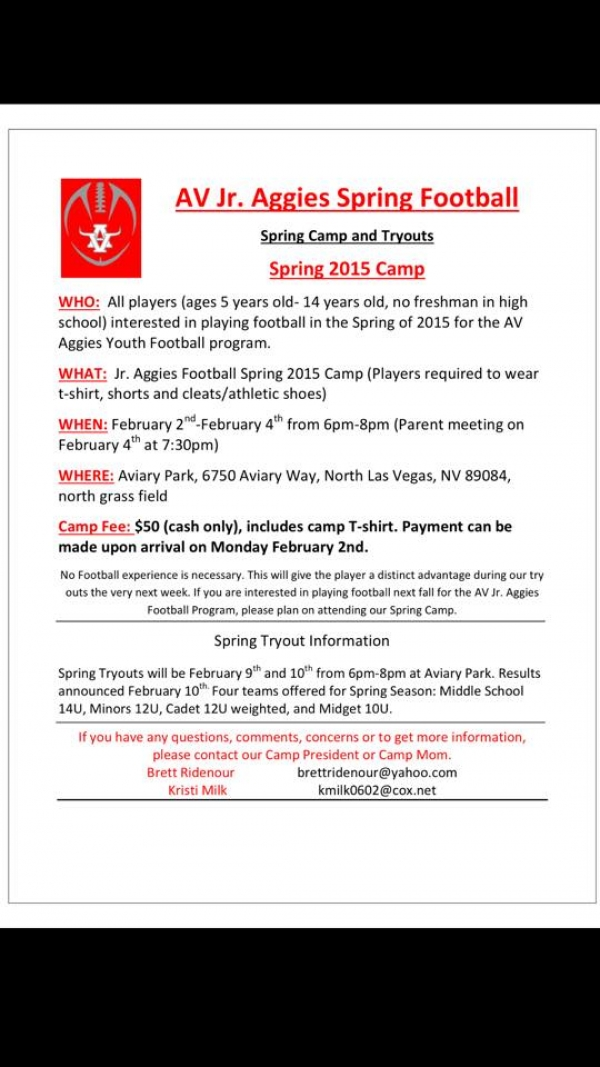 Arbor View Jr. Aggies Youth Football Spring 2015 Camp