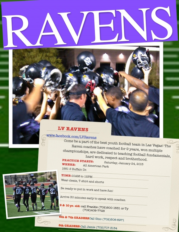 Now is your chance to be an Raven! LV Ravens Youth Football Team Looking for Players