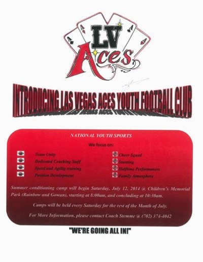 New Las Vegas Aces Youth Football Club Looking for Players and Cheerleaders