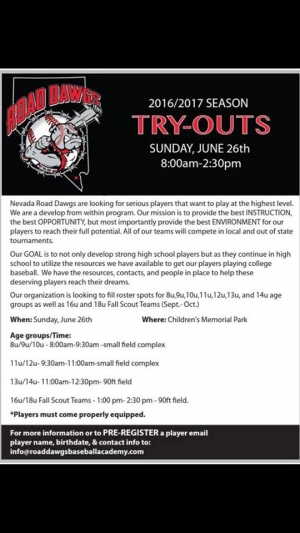 Nevada Road Dawgs Baseball Team Looking for Players