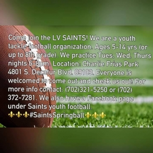 LV Saints Youth Football Team Looking for Playera