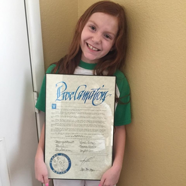 8 Year Old Mya Bartlett Receives Clark County Proclamation - August 4th is Now Mya Bartlett Day