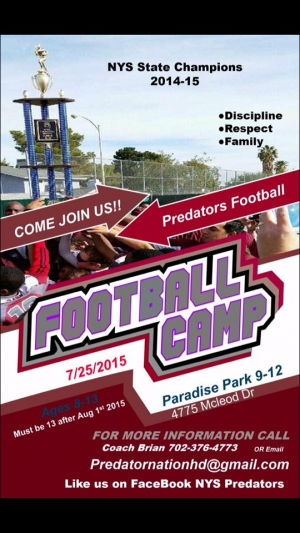 NYS Predators Youth Football Summer Camp - Looking for Players