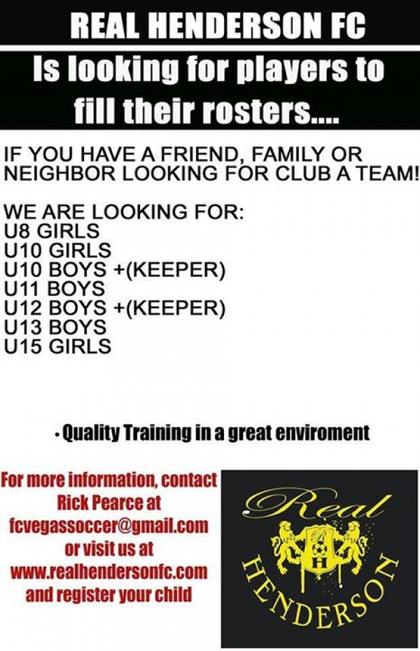 Real Henderson FC is Looking for Youth Soccer Players