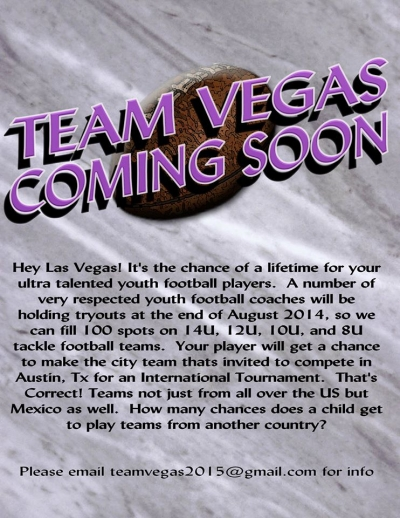 New Team Vegas Looking for Youth Football Players to Play National & International Teams
