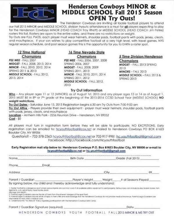 Hendserson Cowboys Youth Football Team Fall 2015 Open Tryouts