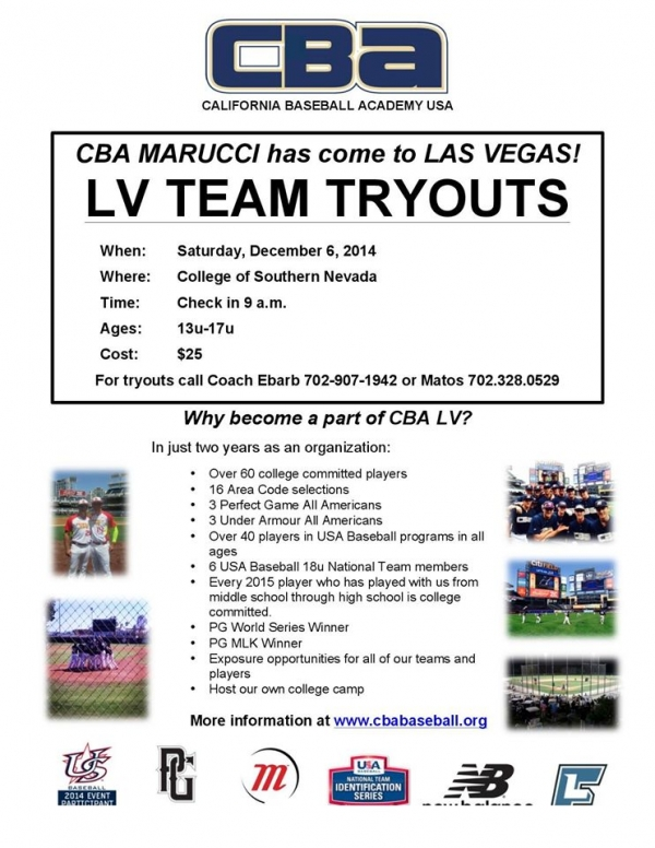 California Baseball Academy USA Las Vegas Tryout/Workout for New Vegas Teams