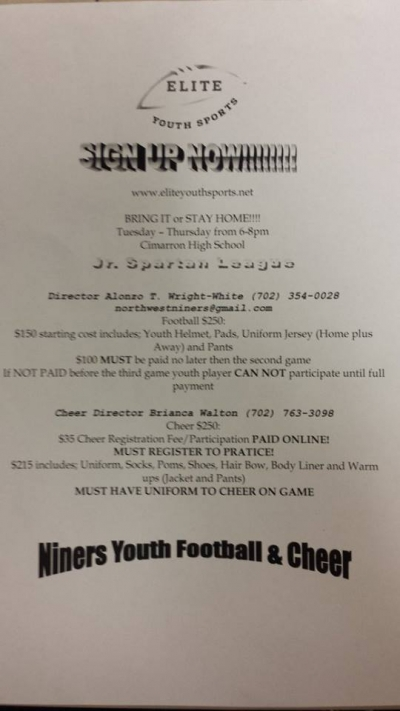 Northwest Niners Youth Football Team Signups and Fundraiser