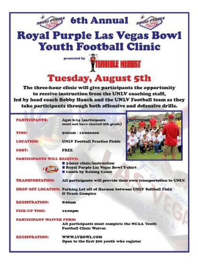 Royal Purple Las Vegas Bowl to Hold Free Youth Football Clinic August 5th